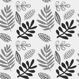 Hand drawn autumnal leaves seamless pattern in gray colors V.1. Autumnal leaves simple seamless pattern vector illustration