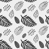 Hand drawn autumnal leaves seamless pattern in gray colors V.2. Autumnal leaves simple seamless pattern vector illustration