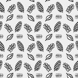Hand drawn autumnal leaves seamless pattern in gray colors V.3. Autumnal leaves simple seamless pattern stock illustration