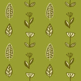Hand drawn autumnal leaves seamless pattern in green colors. Autumnal leaves simle seamless pattern Royalty Free Stock Images