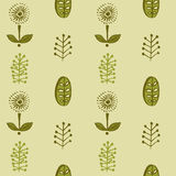 Hand drawn autumnal leaves seamless pattern in green colors. Autumnal leaves simle seamless pattern stock illustration