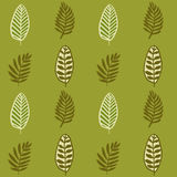 Hand drawn autumnal leaves seamless pattern in green colors. Autumnal leaves simle seamless pattern royalty free illustration