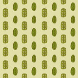 Hand drawn autumnal leaves seamless pattern in green colors. Autumnal leaves simle seamless pattern Stock Images