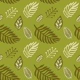 Hand drawn autumnal leaves seamless pattern in green colors V.2. Autumnal leaves simple seamless pattern vector illustration