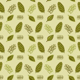 Hand drawn autumnal leaves seamless pattern in green colors V.3. Autumnal leaves simple seamless pattern royalty free illustration