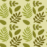 Hand drawn autumnal leaves seamless pattern in green colors V.1. Autumnal leaves simple seamless pattern Stock Image