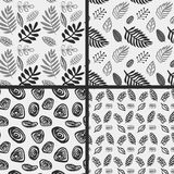 Hand drawn autumnal leaves seamless pattern set in gray colors. Autumnal leaves simle seamless pattern vector illustration