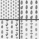 Hand drawn autumnal leaves seamless pattern set in gray colors. Autumnal leaves simle seamless pattern Stock Photos