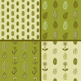 Hand drawn autumnal leaves seamless pattern set in green colors. Autumnal leaves simle seamless pattern Stock Photography