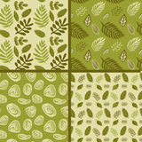 Hand drawn autumnal leaves seamless pattern set in green colors. Autumnal leaves simple seamless pattern Stock Photo