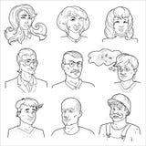 Hand Drawn Avatars Set Royalty Free Stock Image