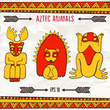 Hand drawn aztec fantastic animals in red and yellow colors Stock Photo