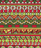 Hand drawn aztec geometric seamless pattern in red colors Stock Photography