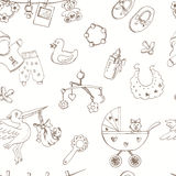 Hand drawn baby born seamless pattern. Sketches. Stock Photos