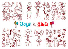Hand drawn baby boy and girl toys set. Elements from a child's l Stock Photo