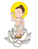 Hand drawn Baby Buddha born with Lotus and Buddha`s mother. Buddha`s mother standing under the cannon Ball Tree with Lord Buddha Born and standing on seven Lotus vector illustration