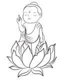 Hand drawn Baby Buddha born with Lotus. Lord Buddha Born and standing on Lotus stock illustration