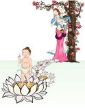 Hand drawn Baby Buddha born with Lotus and mother. Buddha`s mother standing under the cannon Ball Tree with Lord Buddha Born and standing on seven Lotus stock illustration