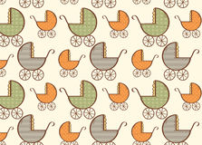 Hand drawn baby carriage pattern Royalty Free Stock Photography