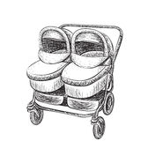Hand drawn baby carriage sketch Stock Photo