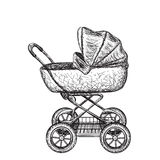 Hand drawn baby carriage Royalty Free Stock Photo
