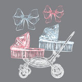 Hand drawn baby carriage Stock Photo