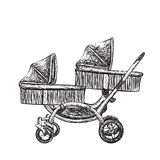 Hand drawn baby carriage Stock Images