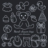 Hand-drawn Baby Goods and Toys Set Royalty Free Stock Image
