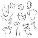 Hand drawn baby icons. Vector illustration Royalty Free Stock Photo