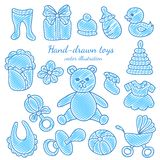 Hand-drawn Baby Icons Set stock illustration
