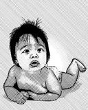 Hand-drawn baby illustration Stock Images