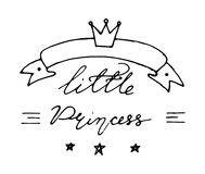 Hand drawn baby lettering little princess with crown. Hand drawn baby lettering little princess with crown for print, textile, poster, card, t-shirt, bags Royalty Free Stock Image