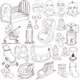 Hand drawn baby set Royalty Free Stock Images