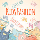 Hand-drawn baby shop discounts Royalty Free Stock Image
