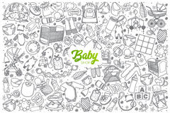 Hand drawn baby shop set with lettering Royalty Free Stock Image