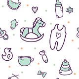 Hand drawn baby shower design elements. Royalty Free Stock Photography