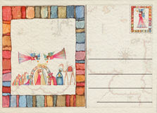Hand drawn back Christmas postcard Royalty Free Stock Image