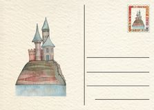 Hand drawn back postcard with Castle Royalty Free Stock Images