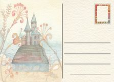 Hand drawn back postcard with Castle Stock Photos