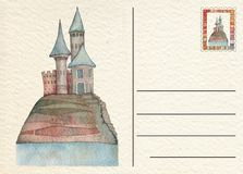 Hand drawn back postcard with Castle Royalty Free Stock Image