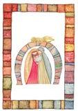 Hand drawn back postcard with Christmas nativity scene stock photo