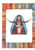Hand drawn back postcard with Christmas nativity scene royalty free stock photo