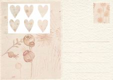 Hand drawn back postcard with flower royalty free stock image
