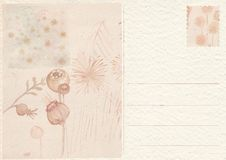 Hand drawn back postcard with flower stock images
