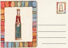 Hand drawn back postcard ,Virgin Mary end Child stock photos