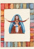Hand drawn back postcard ,Virgin Mary stock images