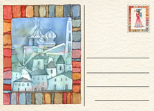 Hand drawn back postcard Royalty Free Stock Photography