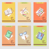 Hand Drawn Back to School Cards Brochure Design with Books, Notebook and Paints Stock Photo