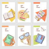 Hand Drawn Back to School Cards Brochure Design with Books, Notebook and Paints Stock Photos