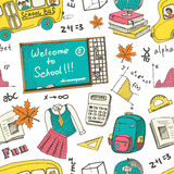 Hand drawn Back to school colorful seamless pattern. Used for school education, document decoration and packages product. Royalty Free Stock Photos